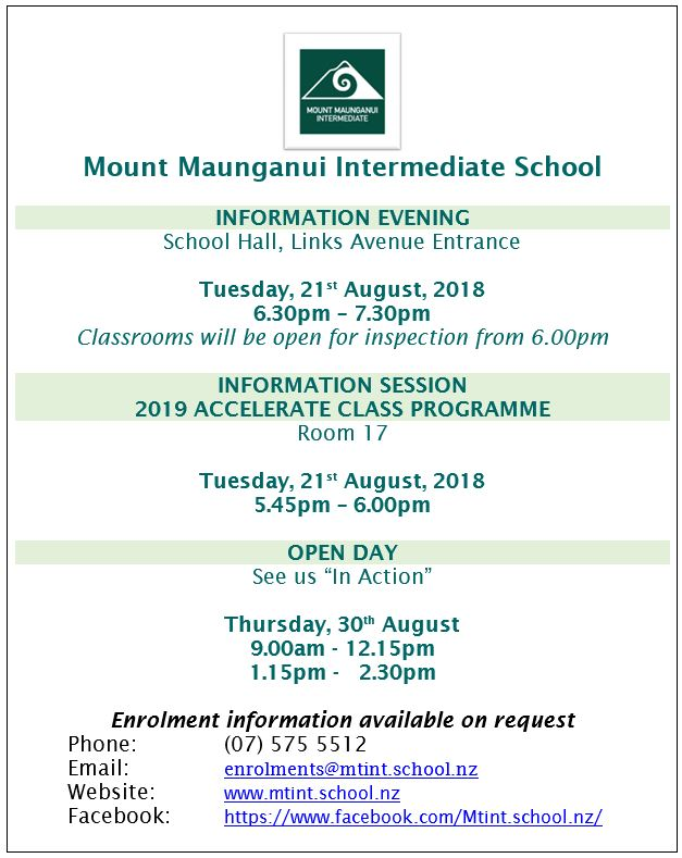2019 OPEN EVENING INFORMATION