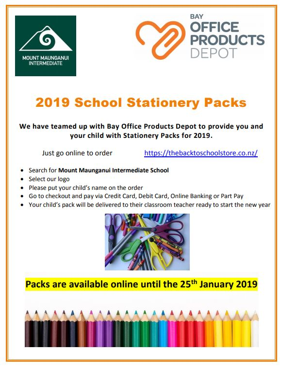 Stationery 2019 Orders