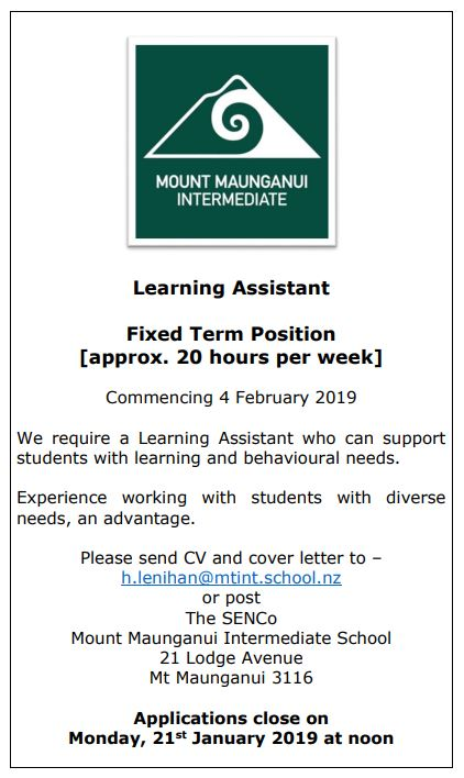 LEARNING ASSISTANT POSITION 2019