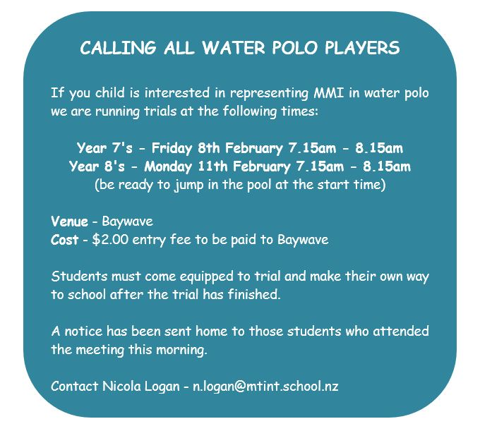 WATER POLO NOTICE